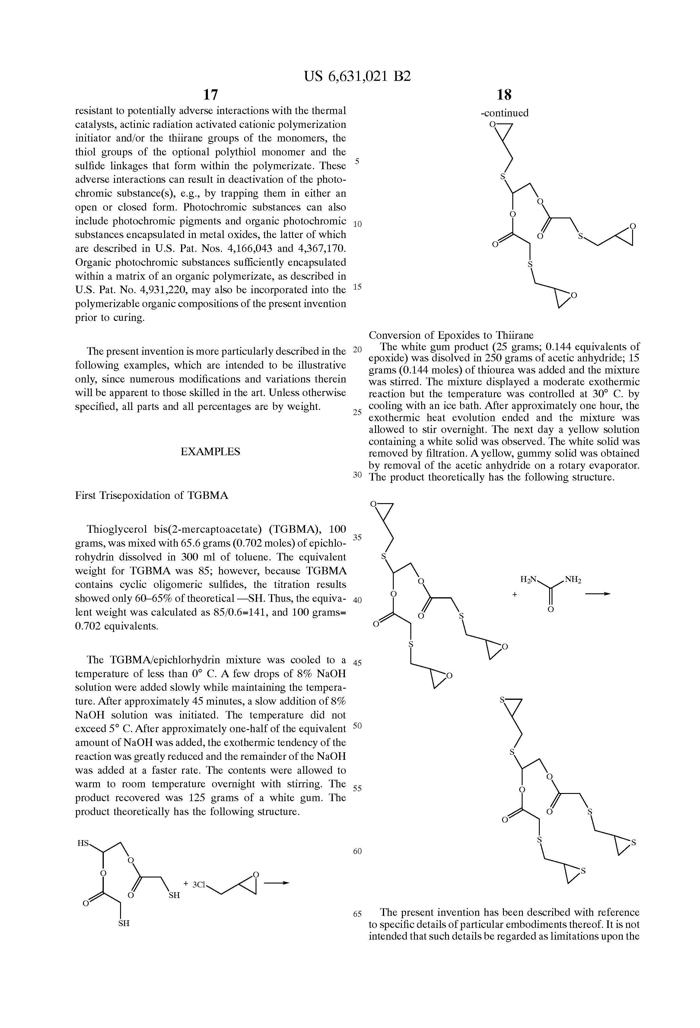 Patent US6631021 - Polyfunctional thiirane compounds ...