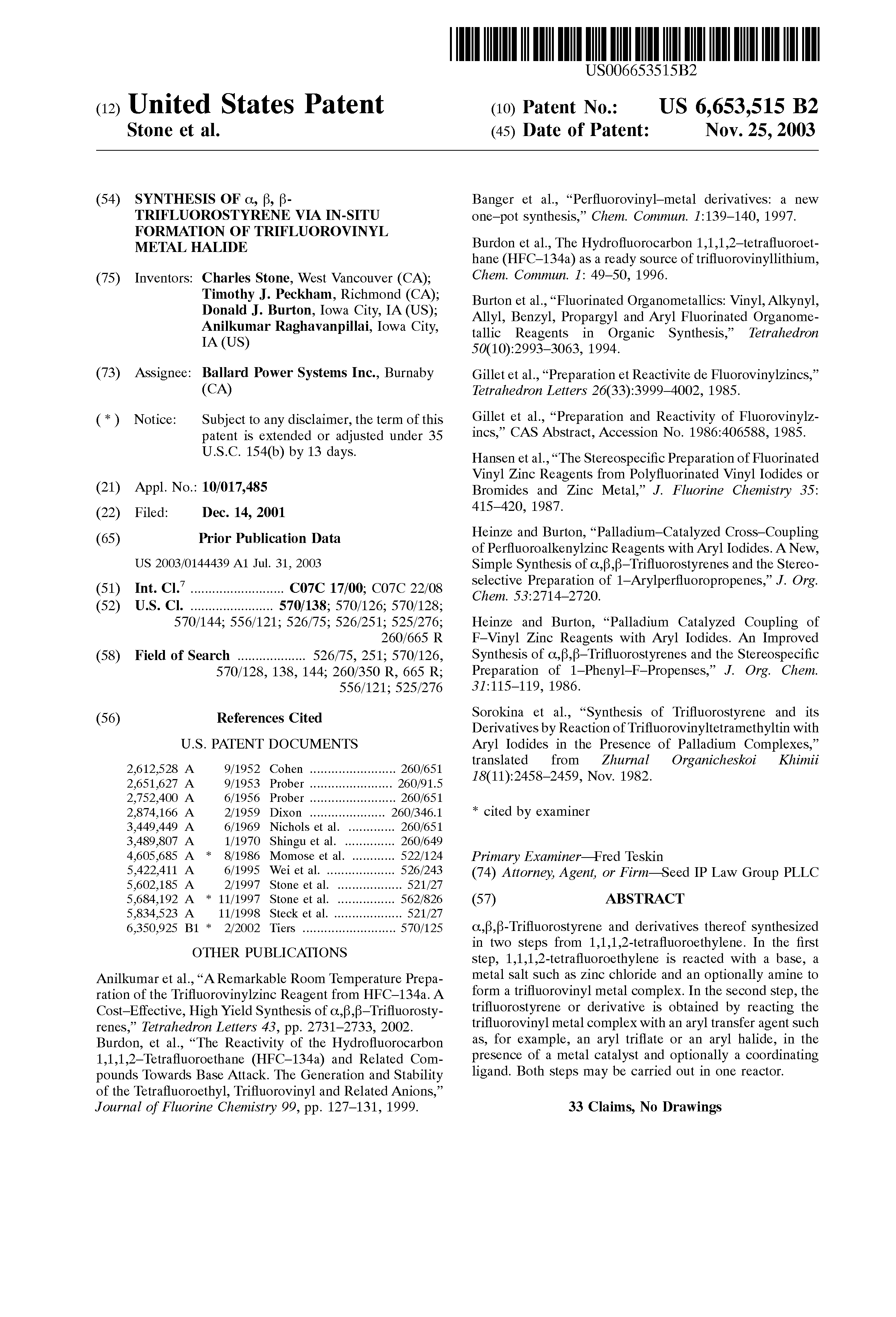 Patent US6653515 - Synthesis of α, β, β-trifluorostyrene via