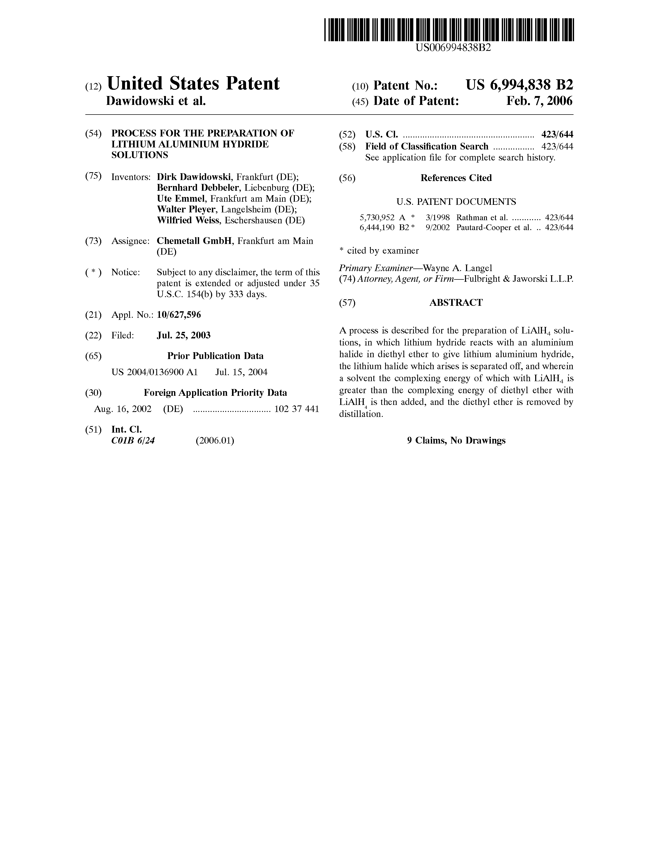 Brevet US6994838 - Process for the preparation of lithium