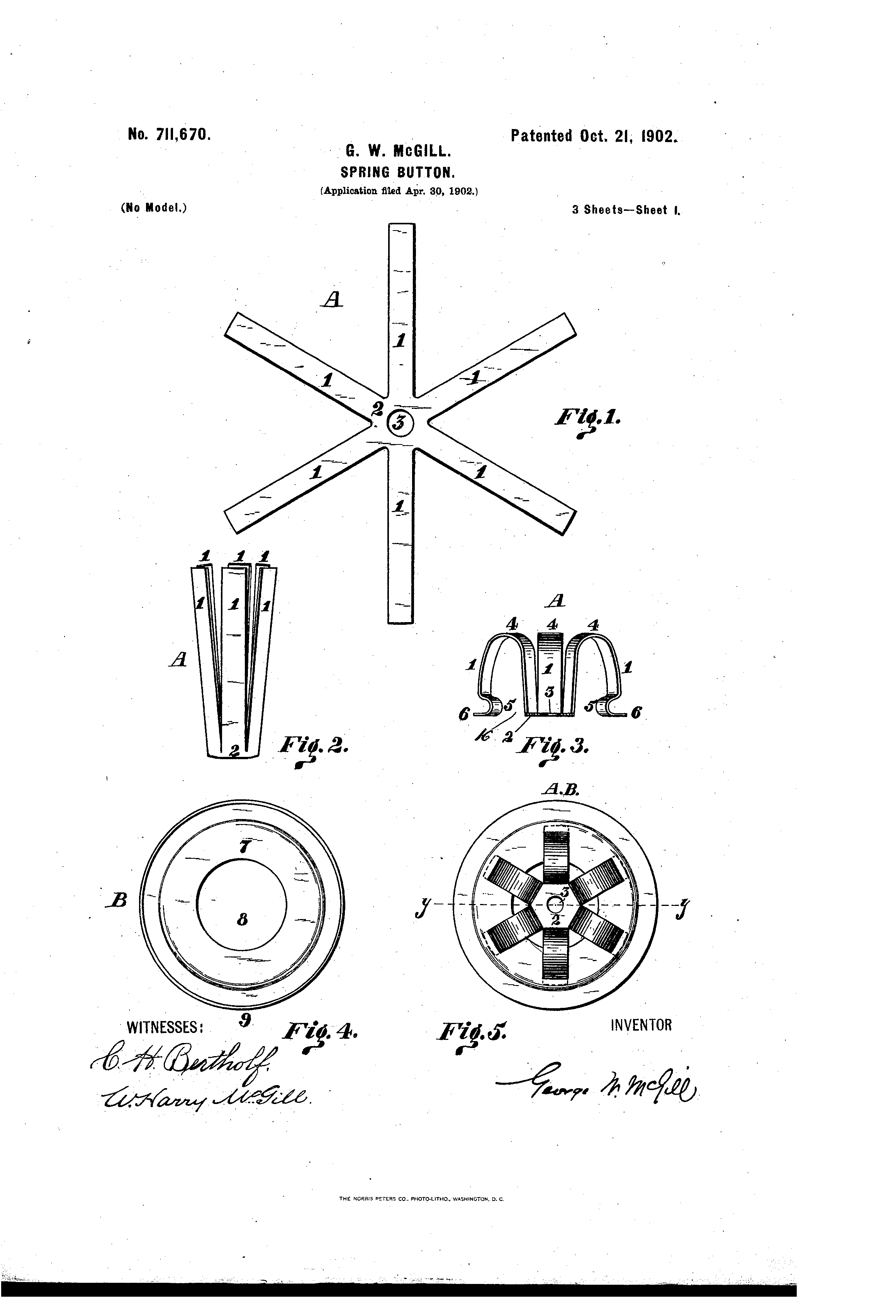 Us711670 Spring Button Google Mcgill Wiring Diagram Patent Drawing