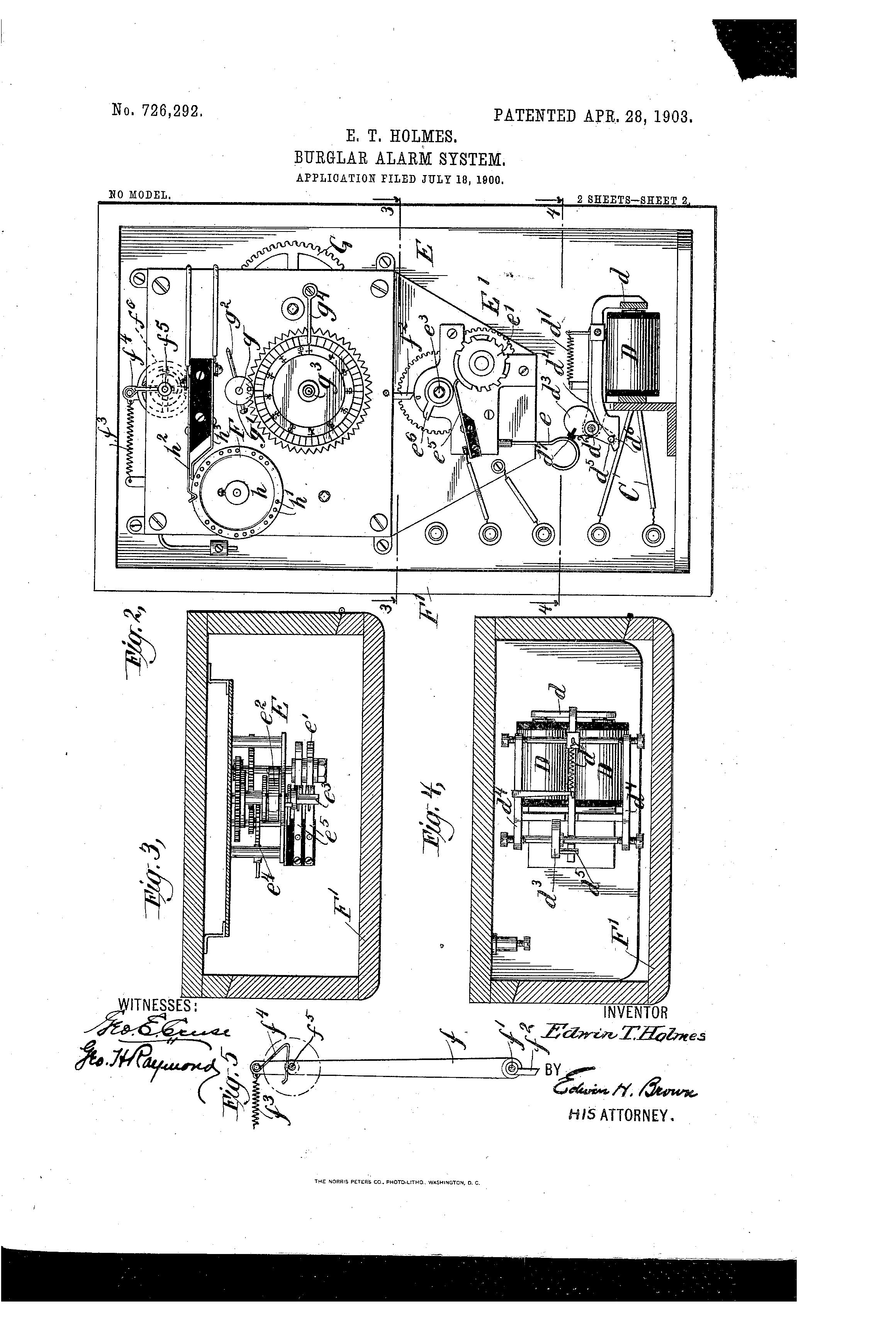Patentrechte für die erste elektromagnetische Alarmanlage