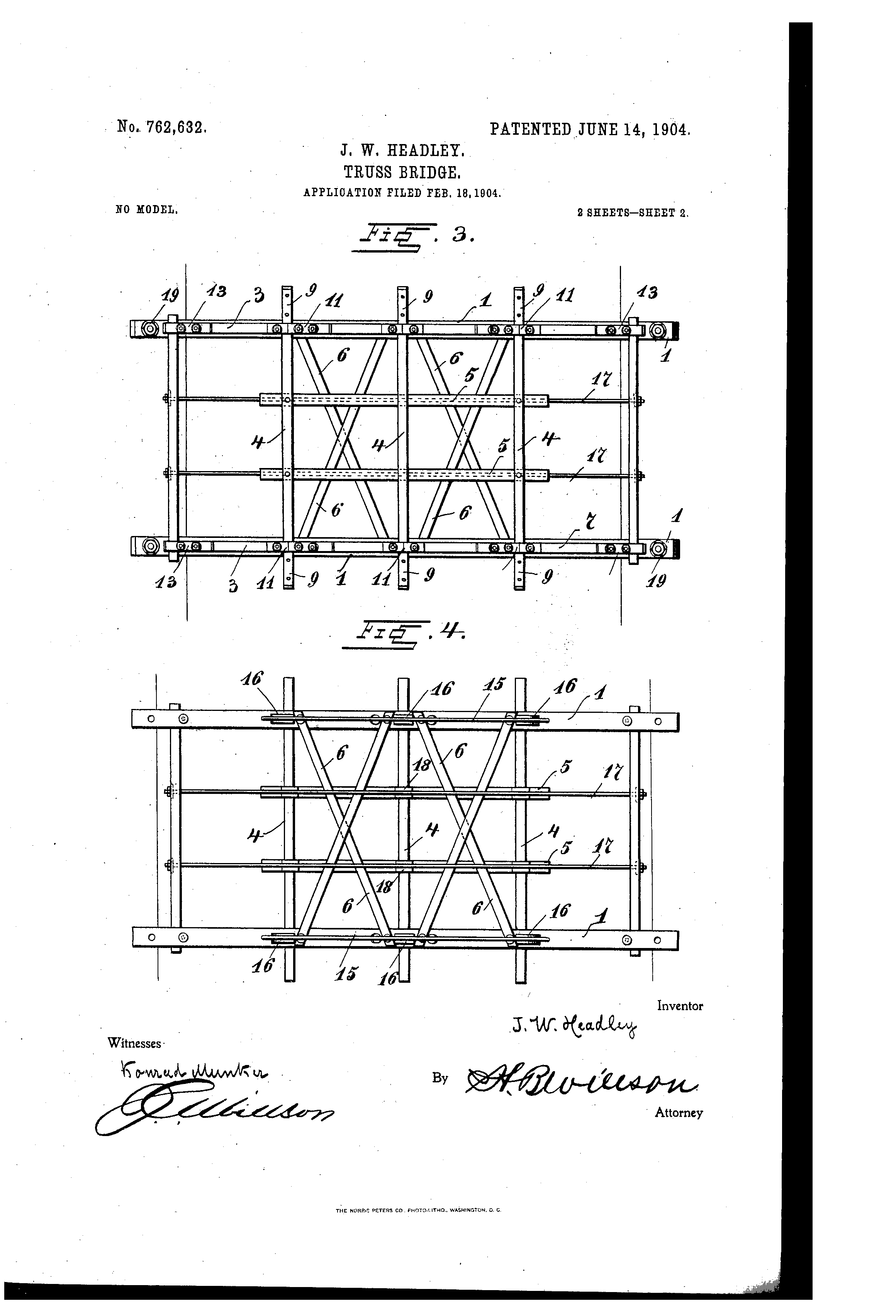 Patente Us762632 Truss Bridge Google Patentes Diagram Through Patent Drawing