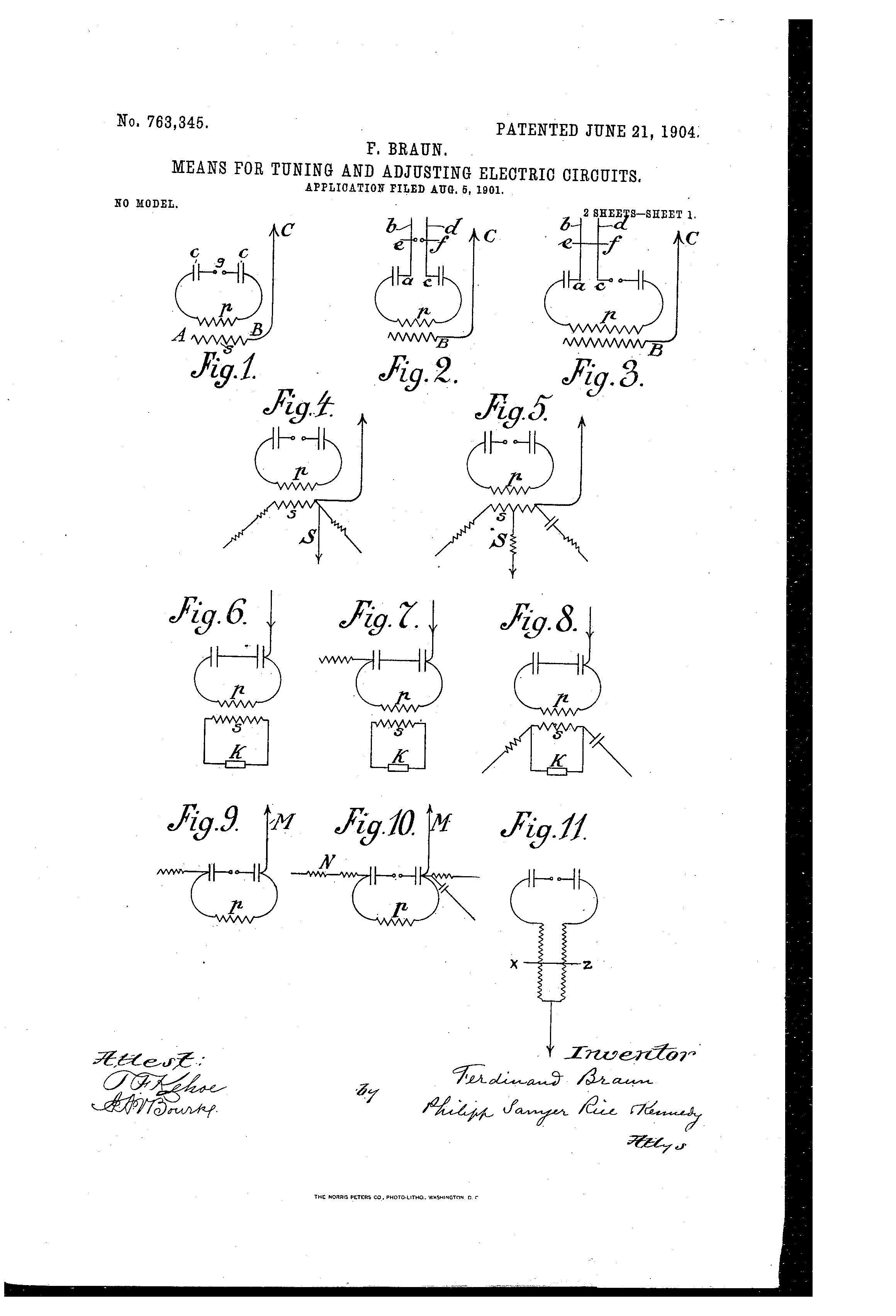 Patent US763345 - Means for tuning and adjusting electric circuits ...