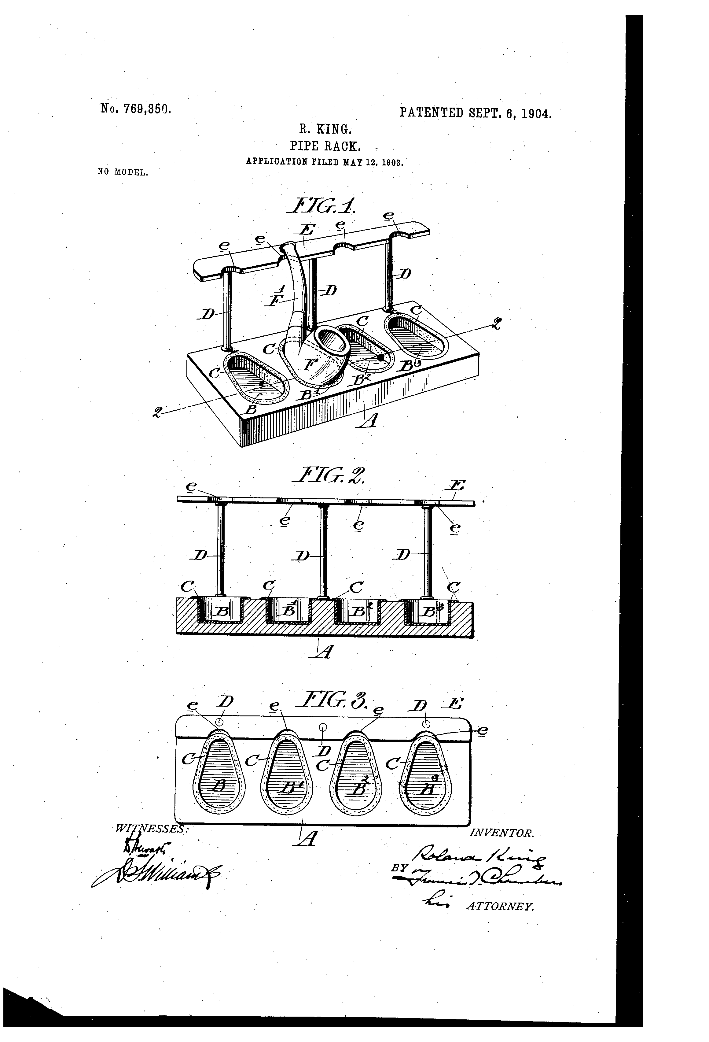 Patent US769350 - Pipe-rack. - Google Patents