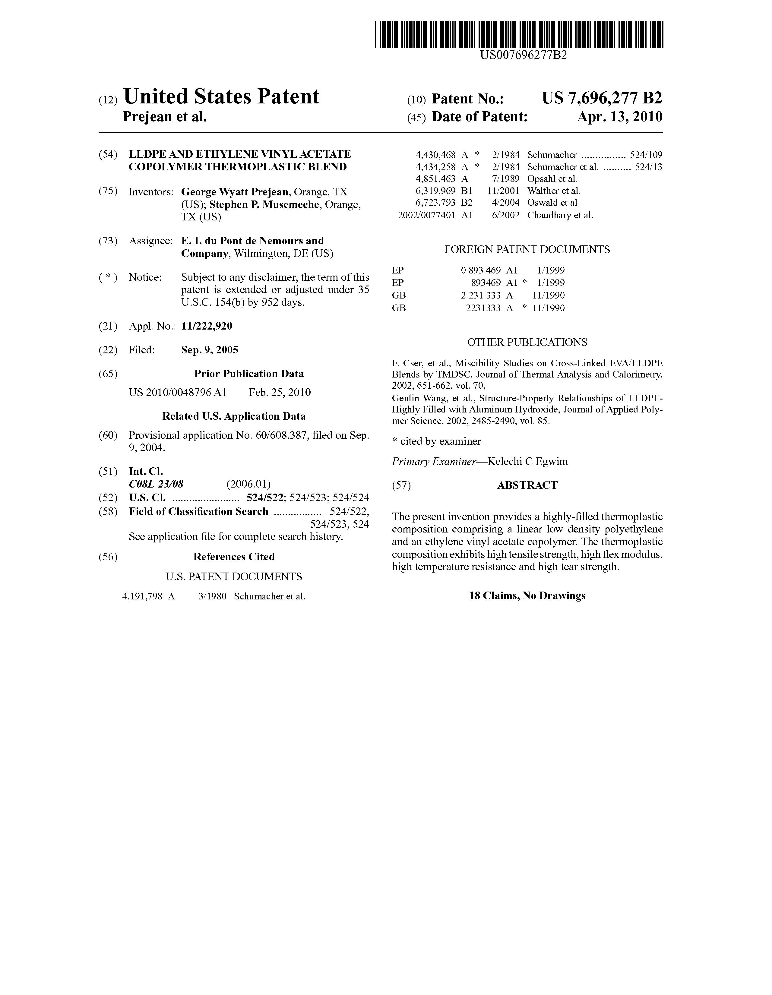 Patent Us7696277 Lldpe And Ethylene Vinyl Acetate