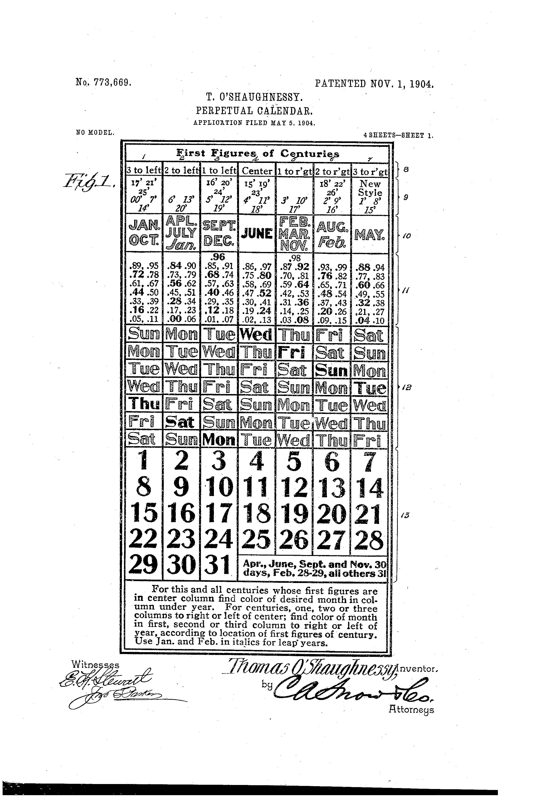 Julian Calendar Perpetual Perpetual calendar.