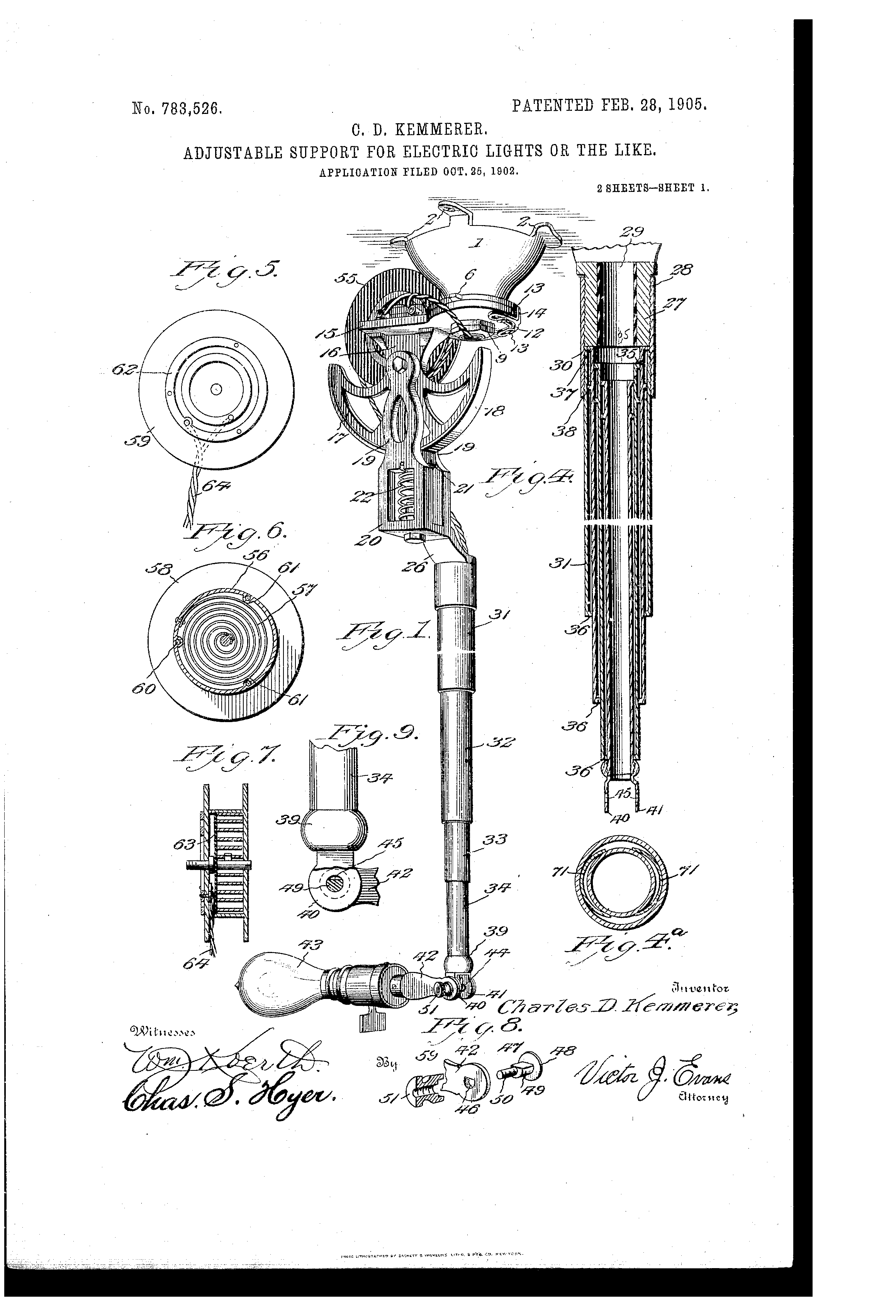 numbers to letters patent us783526 adjustable support for electric lights 23803 | US783526 0