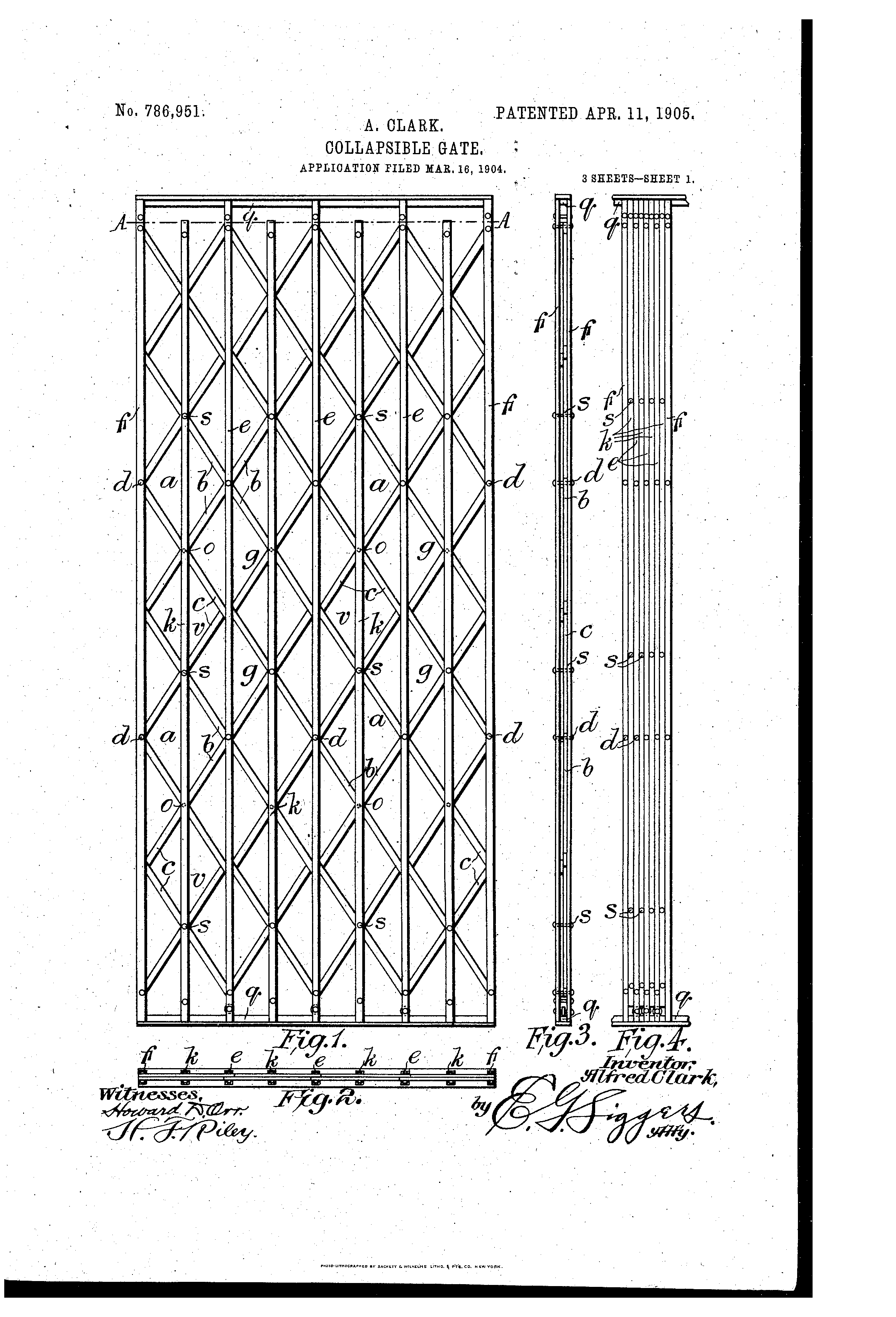 Patent US786951 Collapsible Gate Google Patents  sc 1 st  Woonv.com & Images of Collapsible Door Plan Amd Section - Woonv.com - Handle idea