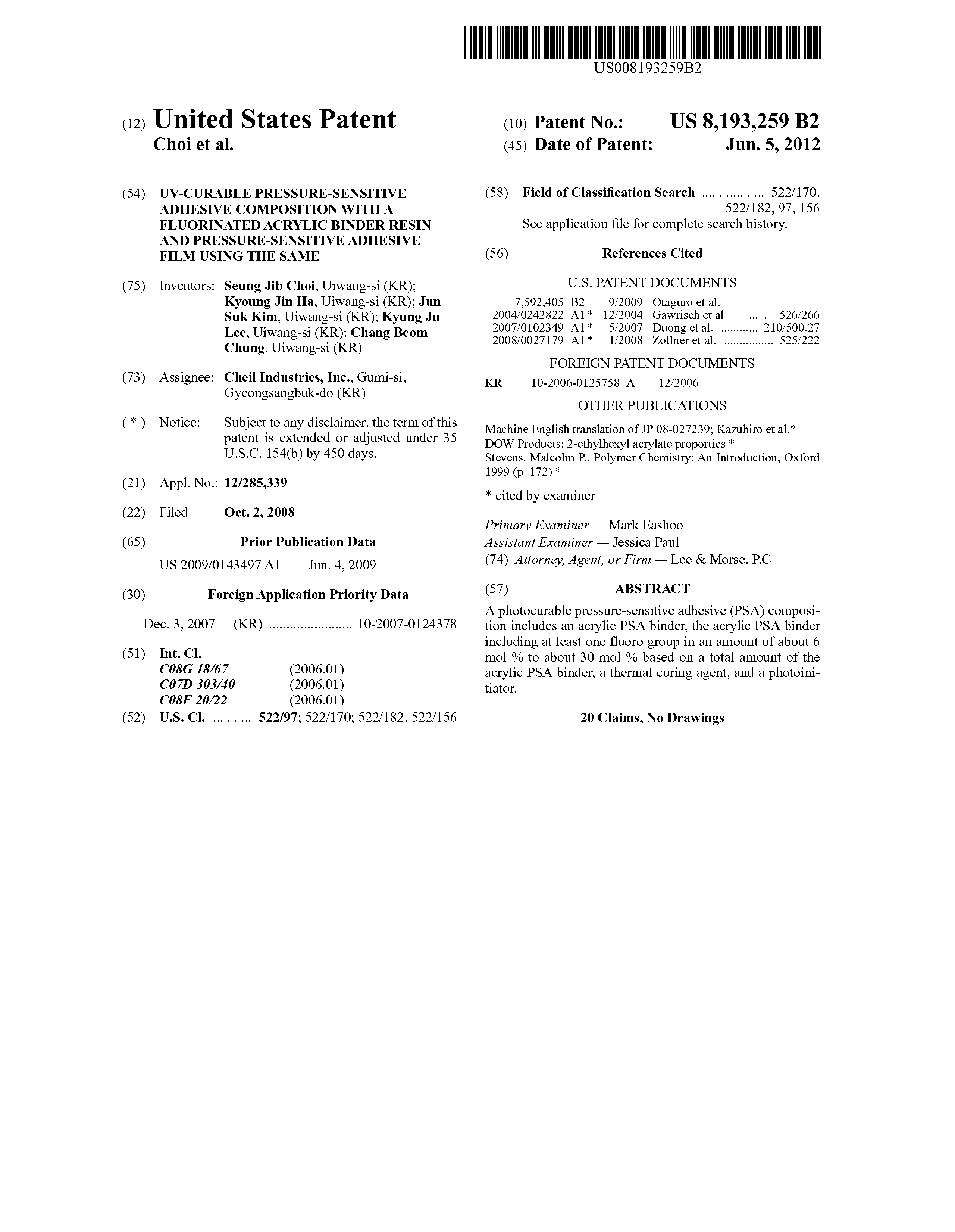 Patent US8193259 - UV-curable pressure-sensitive adhesive