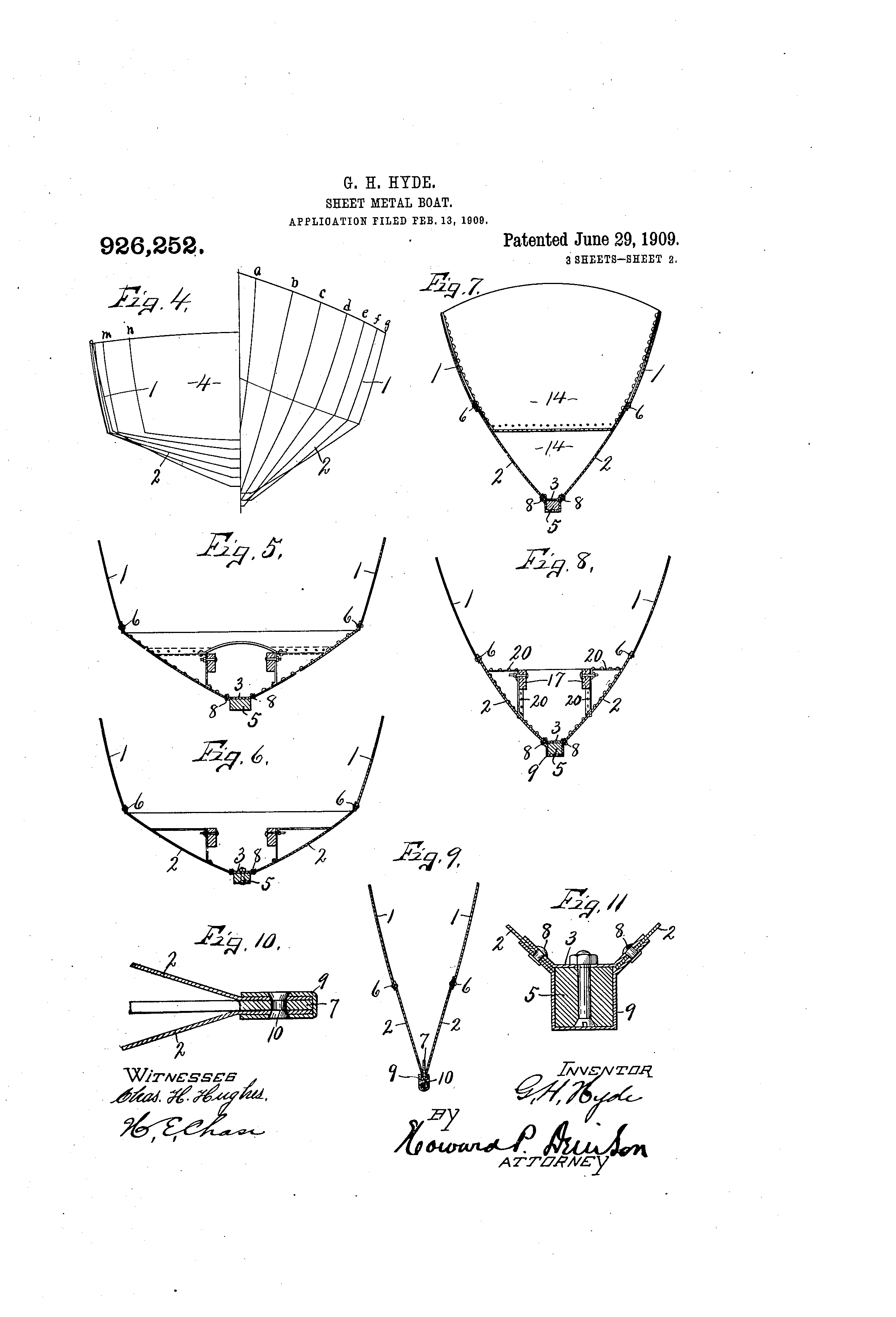 patent us926252 sheet metal boat google patents
