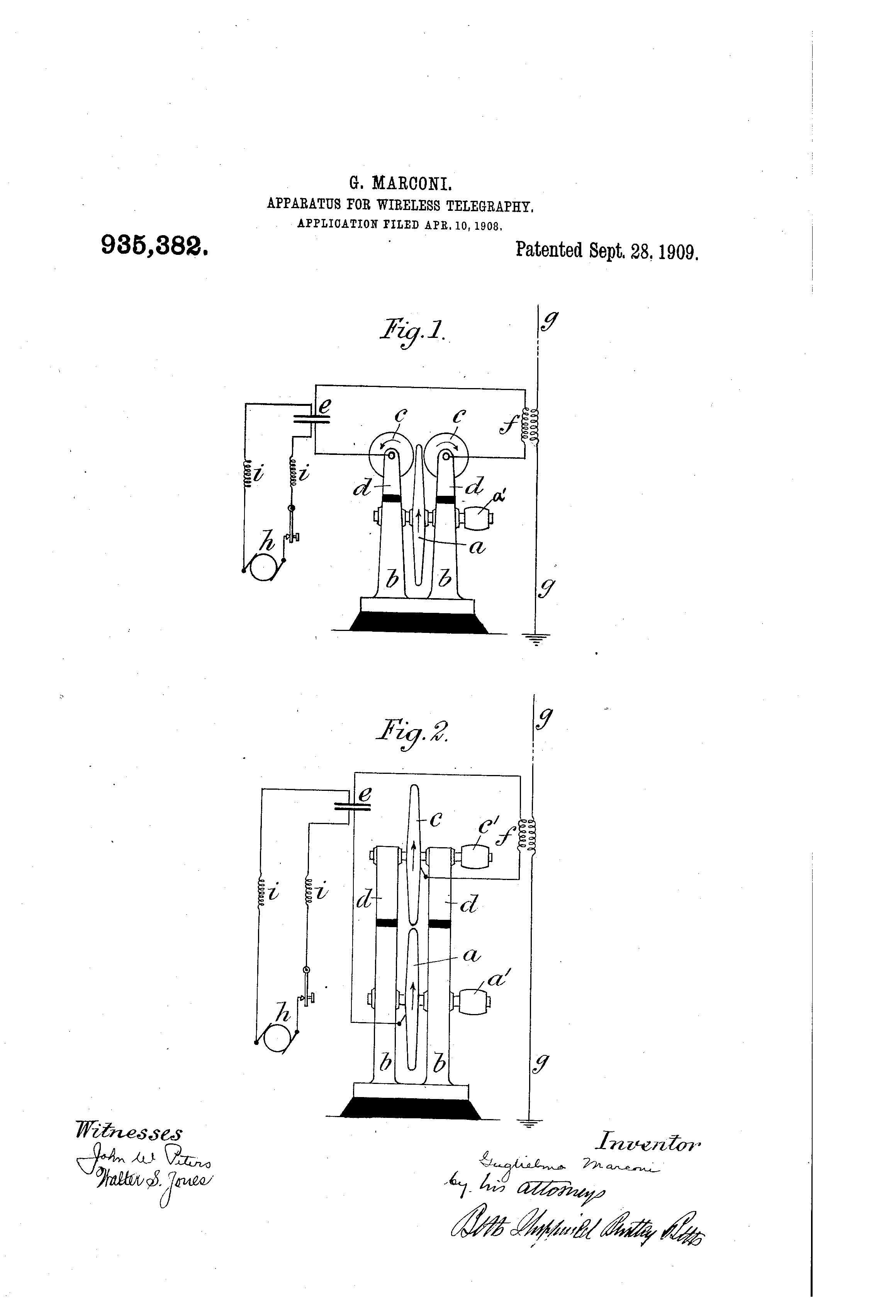 patent us935382 - apparatus for wireless telegraphy