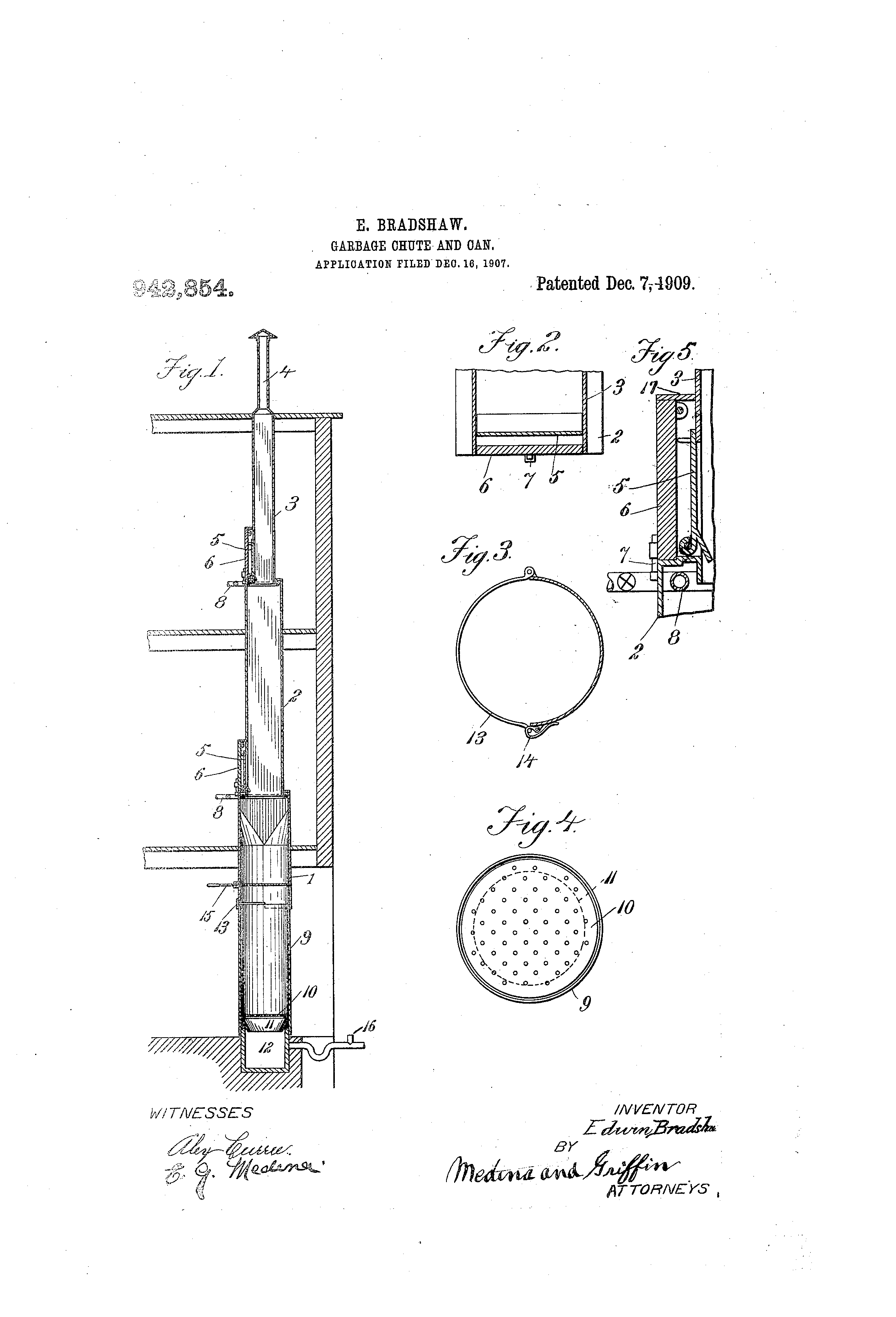 Patent Us942854 Garbage Chute And Can Google Patents