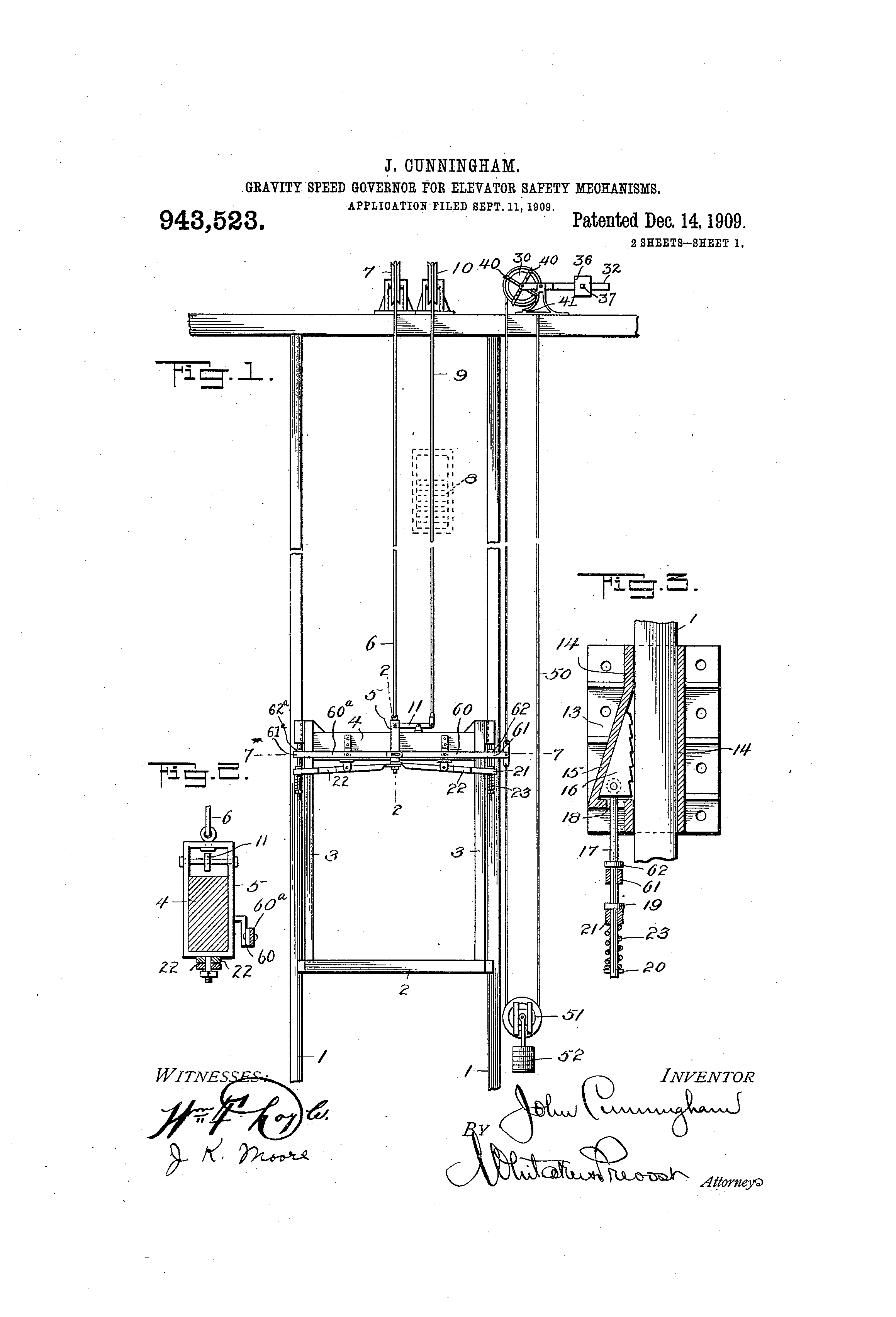 Patent US943523 - Gravity speed-governor for elevator safety