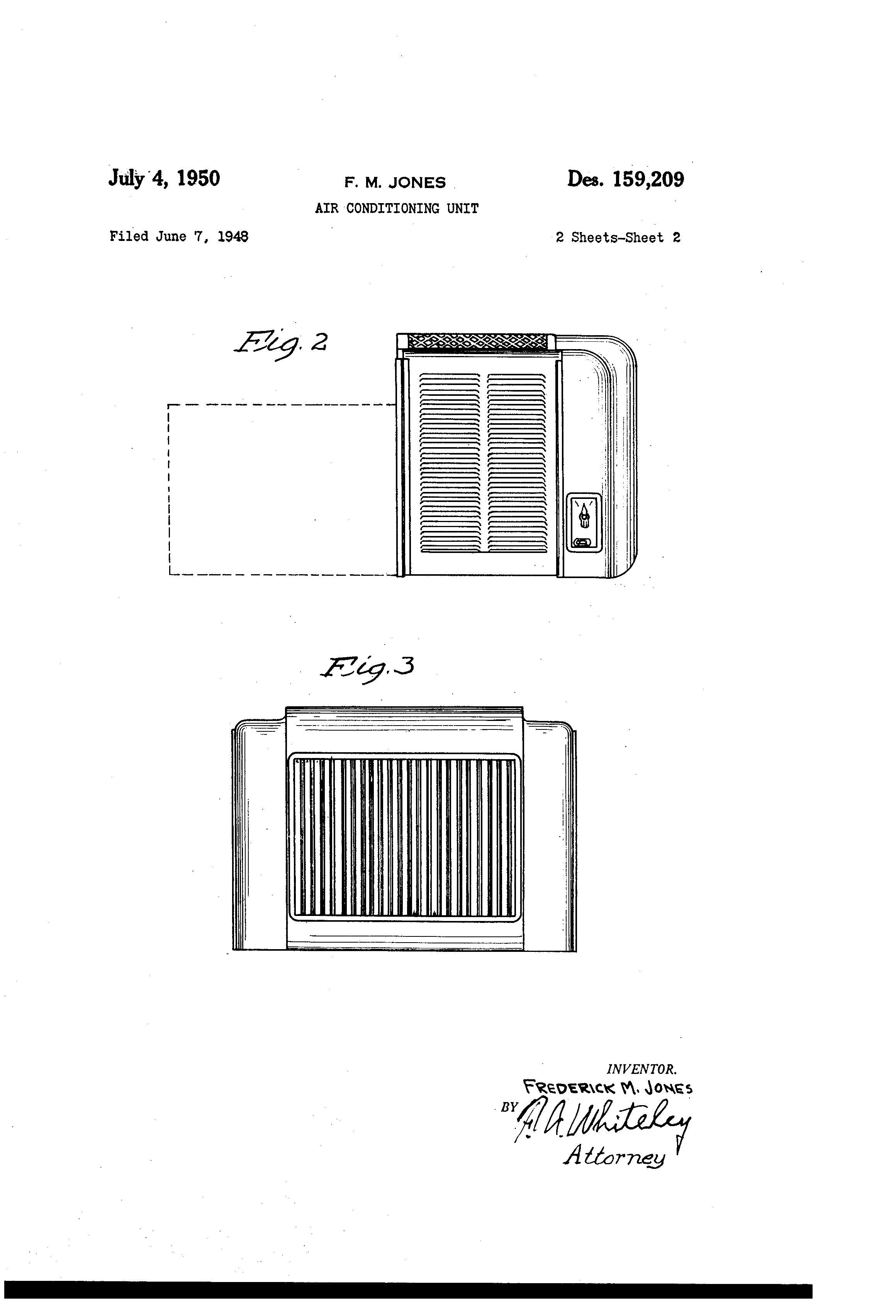 patent usd159209 - jones air conditioning unit