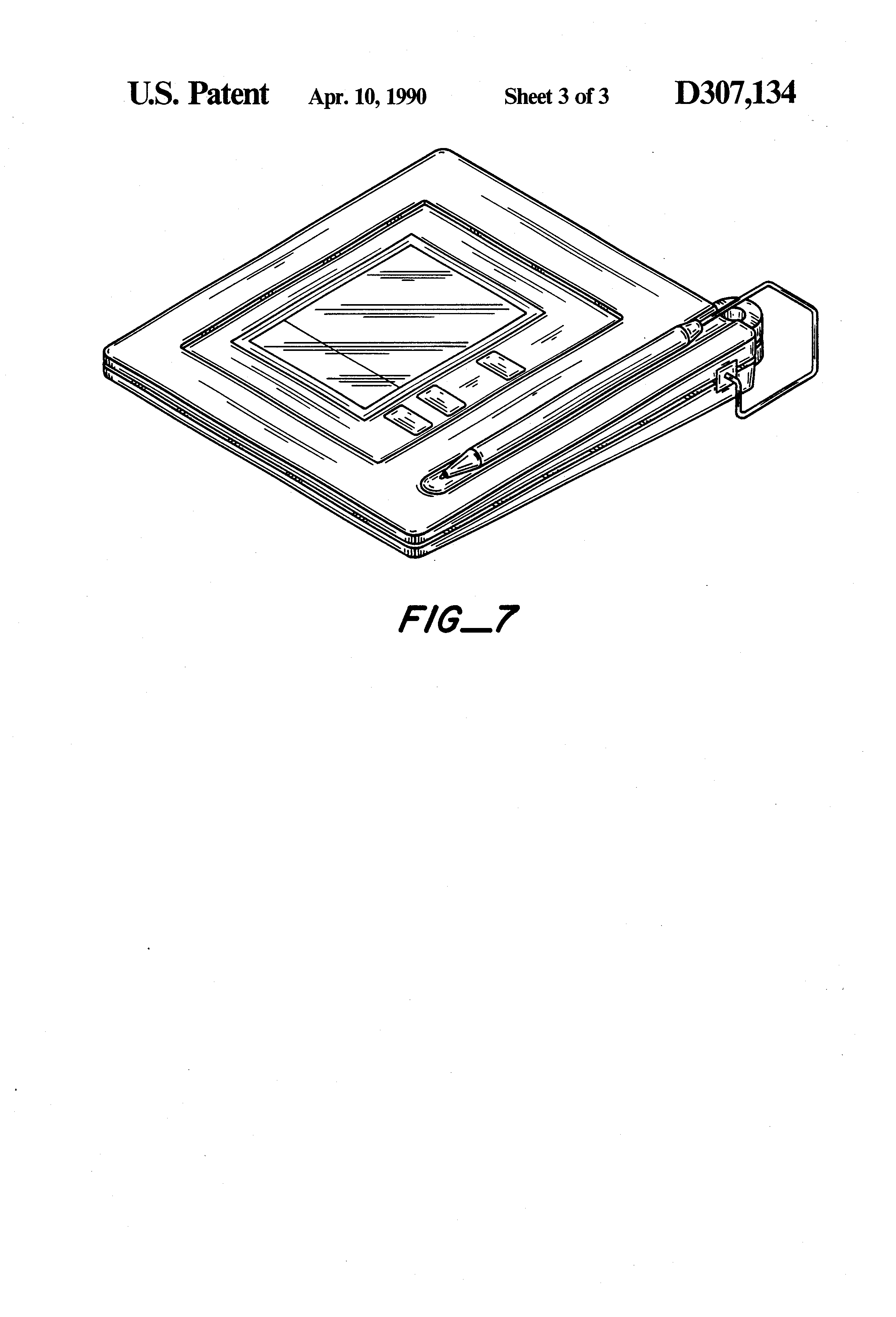 Patent Usd307134 Data Entry Writing Pad For Electronic