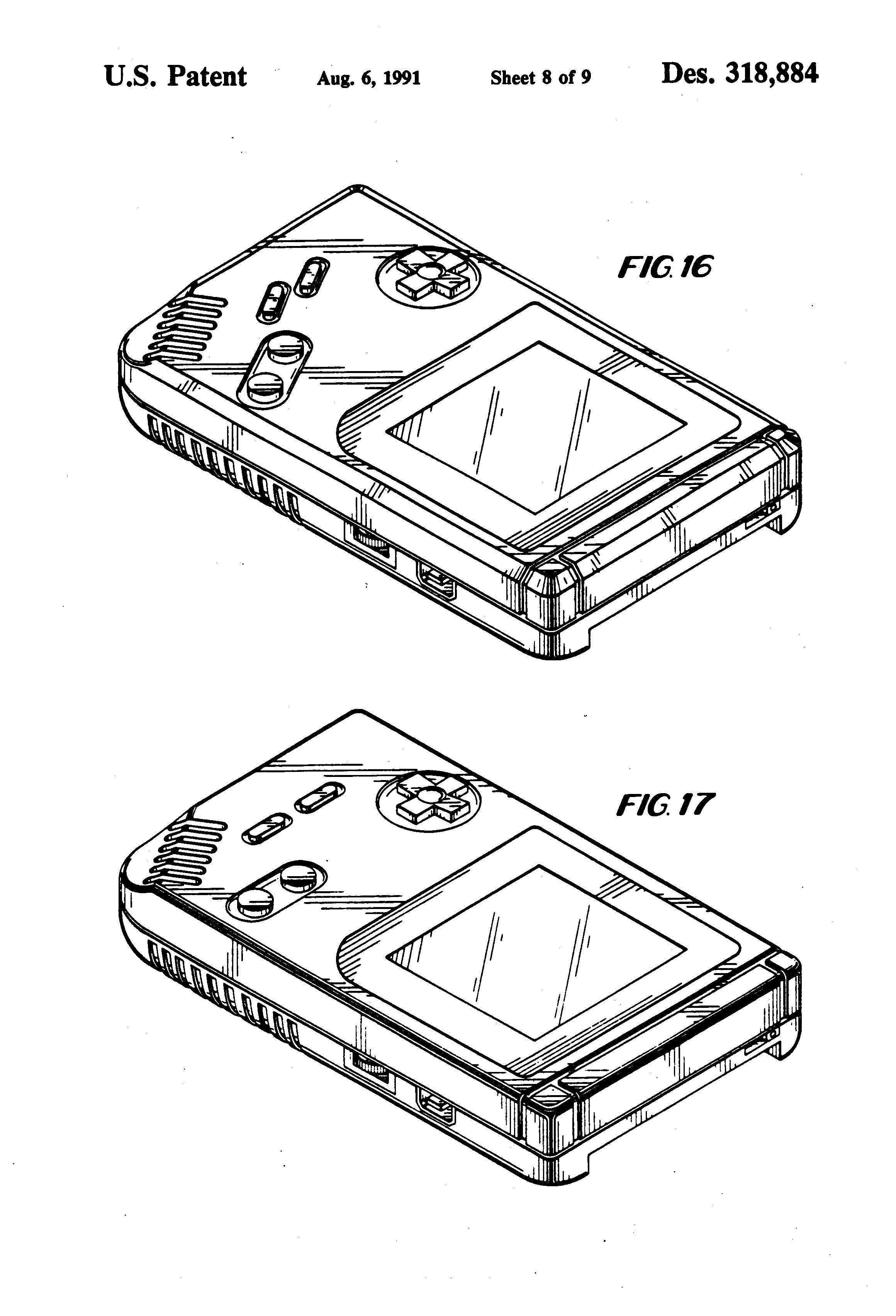 patent usd318884 - hand-held electronic game