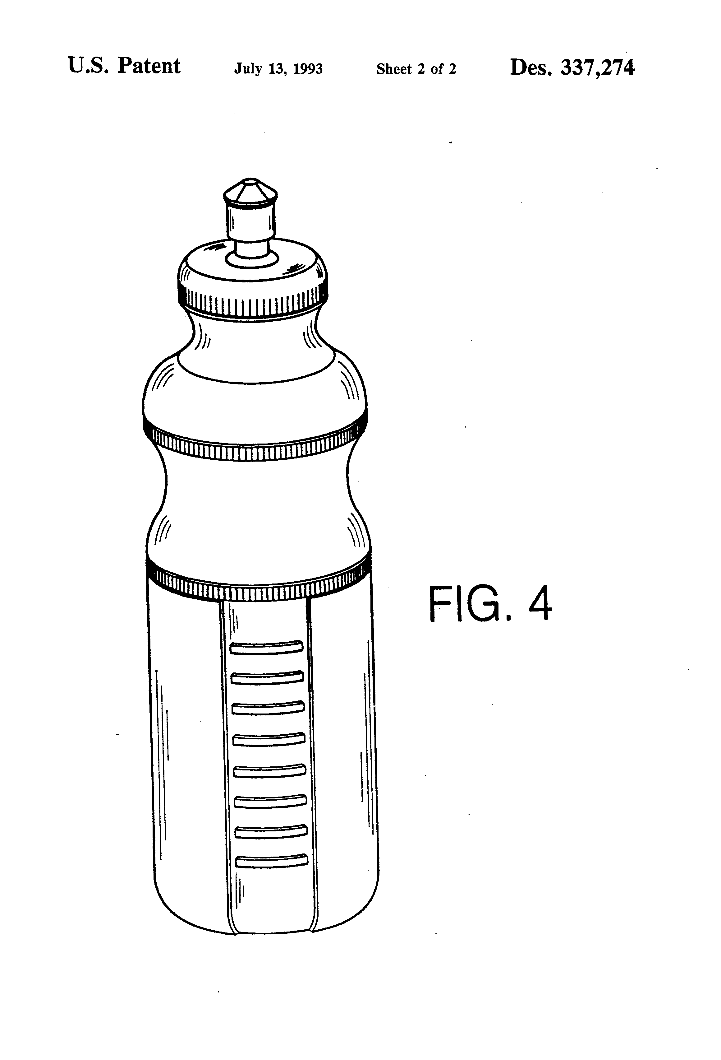 Patent Usd337274 Combined Water Bottle And Cap Google