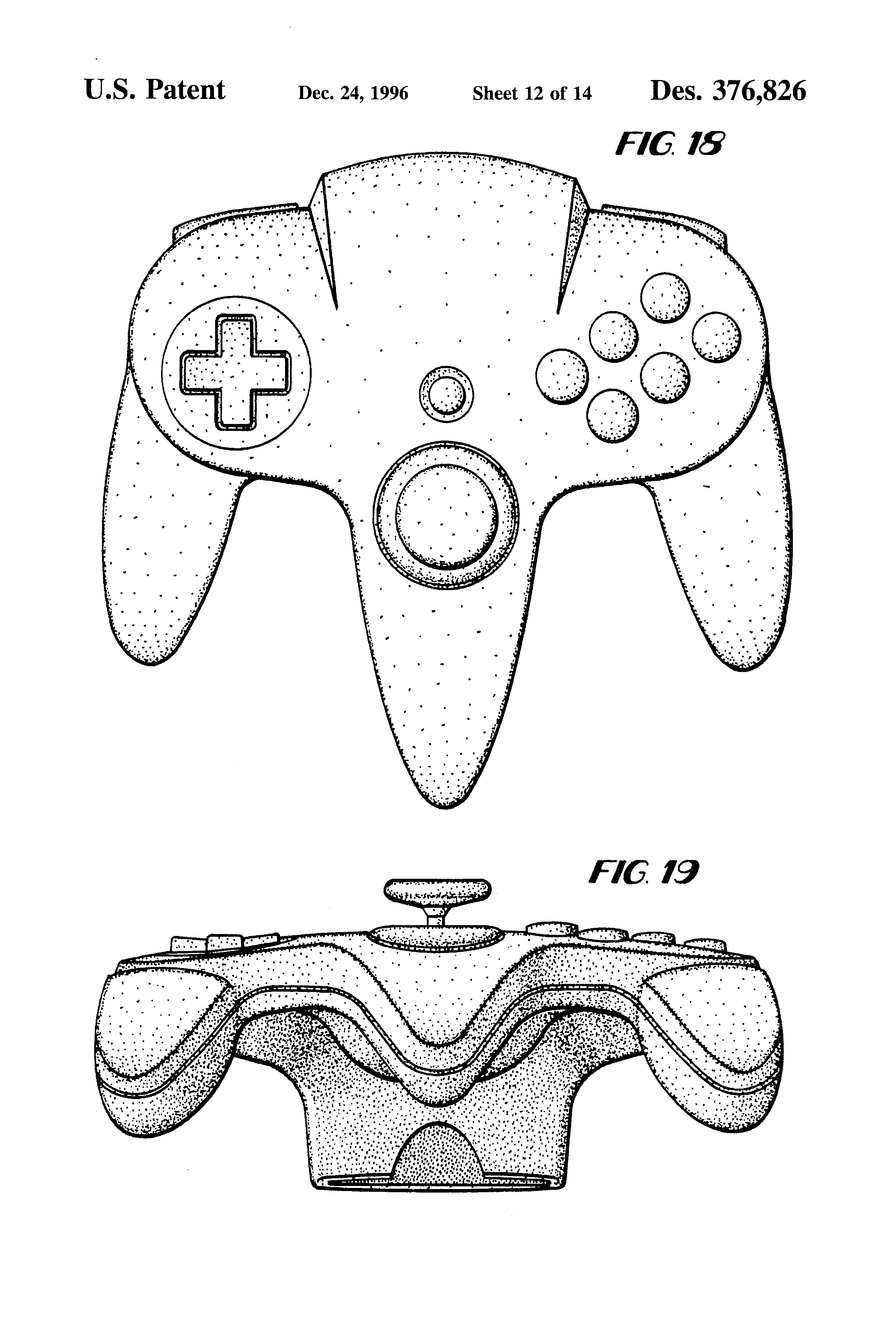 patent usd376826 - controller for game machine