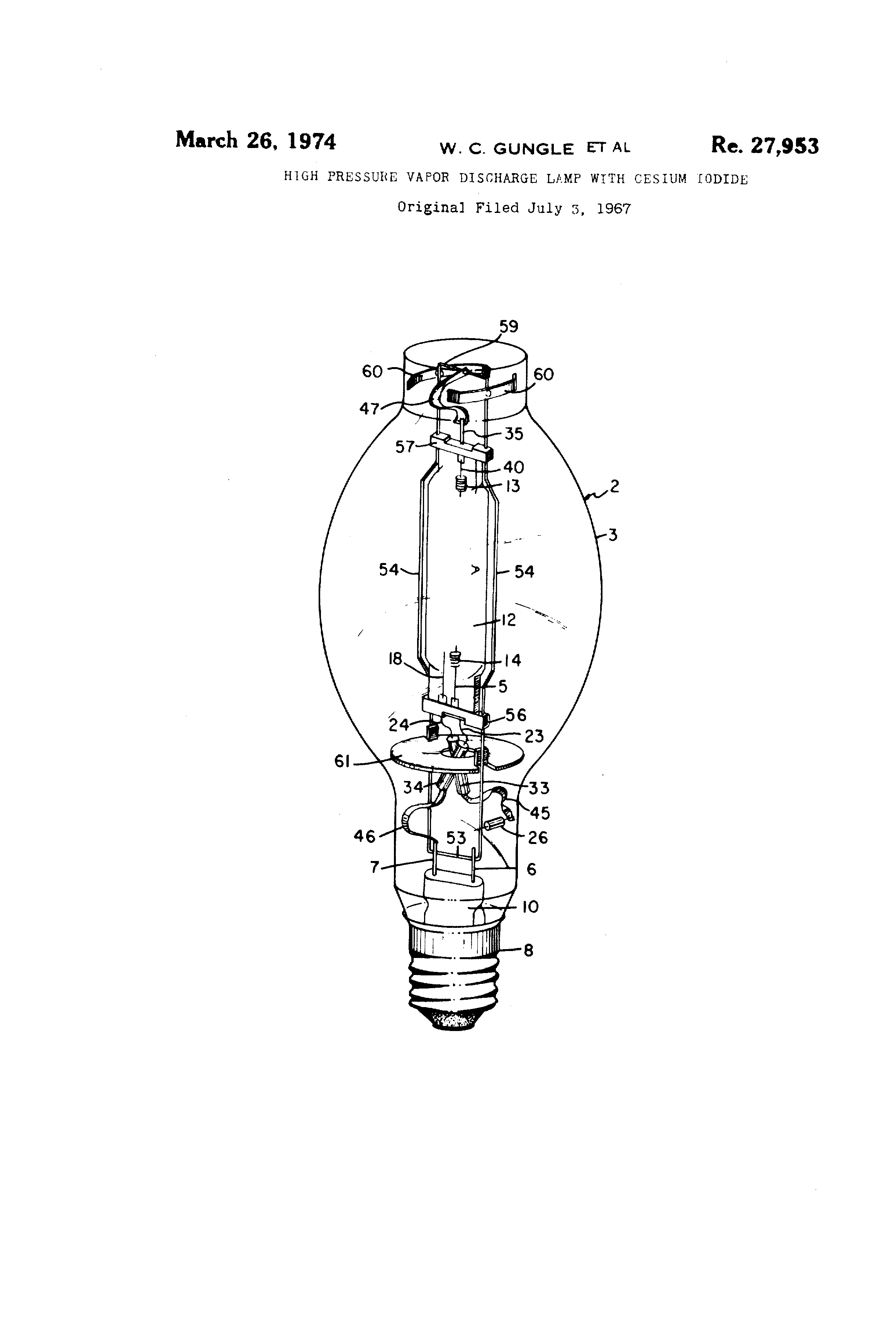 Patent USRE27953 - High pressure vapor discharge lamp with cesium